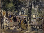 La grenouillére, by Pierre-Auguste Renoir, 1869, 19th Century, oil on canvas. Russia, Moscow, Pushkin Museum of Fine Arts. Whole artwork view. People ...