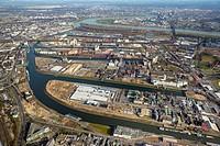 Aerial view, Neuss Harbour, Rhine, Neuss, Rhineland, North Rhine-Westphalia, Germany