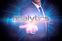 Analytics against abstract technology background