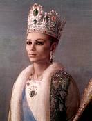 The Shah of Persia Reza Pahlavi e Farah Diba (Le L.L.M.M.I.I. lo Scià di Persia Reza Pahlavi e Farah Diba), by Pietro Annigoni, 1967 - 1968, 20th Cent...