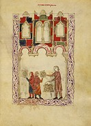 Distribution of matzah (unleavened bread). Vellum manuscript. Image taken from Hispano-Moresque Haggadah. Originally published in Castile c.1300.