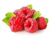 Raspberry with green leaf isolated on white.