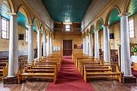 Chile, Chiloe Island, Vilupulli, Iglesia de Vilupulli church, interior.