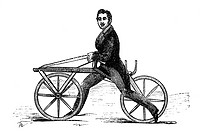 19th Century velocipede. 1880 engraving of a man riding a velocipede designed by Karl Drais in 1818. The velocipede also known as the dandy horse or l...