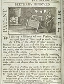 Mill patent, Beetham's improved mill patent. Image taken from Newcastle Chronicle. Originally published in April 27, 1799.