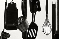 Silhouette of cooking tools in home, Tosu, Saga, Japan.