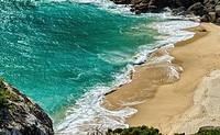 Porthcurno beach. Cornwall, England.