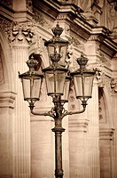 Lamp posts and columns at the Louvre Palace, Louvre Museum, Paris, France.