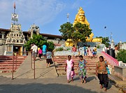 Stairs to Hindu Shiva temple with the golden Shiva statue, Trincomalee, Eastern Province, Sri Lanka