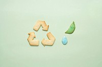 Cookies of recycling symbol, leaf and dew drop