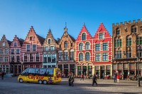 Crow-stepped gable houses pictured in Bruges on the ´´ Grote Markt ´´.