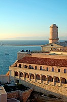 Fort Saint Jean & Lighthouse at the Entrance to the Vieux Port Marseille France.