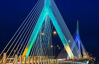 A view to the Leonard P. Zakim Bunker Hill Memorial Bridge at twilight. The Zakim bridge, was part of The Big Dig Project in Boston. It is one of the ...