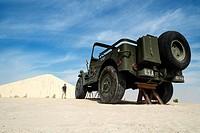 World´s largest motorised truck (Willy jeep) Emirates National Auto Museum outside Abu Dhabi in United Arab Emirates.