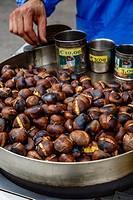Caldarroste, roasted chestnuts, Milan, Italy.