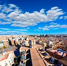 Valencia aerial skyline with Plaza de la virgen and Cathedral at Spain.