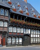 D-Goslar, Gose, Harz, Lower Saxony, old city, half-timbered house in the Baker Street, residential building, flower arrangements, geraniums, the old c...