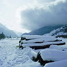 SCHWEIZ, TINIZONA-RONA, 29.12.1995, nature, seasons, winter, Alpine scenery, snowy landscape, forestry, deforestation, wood pile, CH-Tinizona-Rona, Gr...