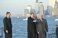 Mikhail gorbachev with ronald reagan and george bush in new york city during his visit to the usa in 1987.