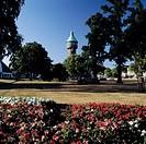 D-Heide, Dithmarschen, Schleswig-Holstein, Stadtpark, Wasserturm, Blumenbeete D-Heide, Dithmarschen, Schleswig-Holstein, city park, water tower, flowe...
