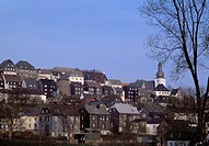D-Arnsberg, Ruhr, Sauerland, Nordrhein-Westfalen, Stadtansicht, Stadtpanorama, Buergerhaeuser, Wohnhaeuser, Glockenturm, Winter, D-Arnsberg, Ruhr, Sau...