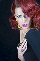 red haired elegant fashion woman.