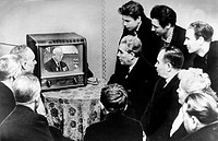 Workers of the state bearing plant no, 1 in moscow, watching nikita khrushchev give a report at the ussr supreme soviet on the present day internation...