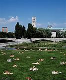 D-Muenchen, Isar, Oberbayern, Isarauen, Menschen nehmen Sonnenbad, Deutsches Museum, D-Munich, Isar, Upper Bavaria, Isar landscape, sunbathe, people s...