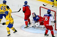 From left: Sweden's Oskar Moller, Niclas Burstrom, Czech Republic's Petr Zamorsky, Alexander Salak and Martin Zatovic pictured during the bronze medal...