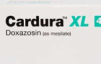 Cardura hypertension drug. Box of the blood vessel widening (vasodilator) drug cardura, taken to decrease high blood pressure (hypertension). It works...