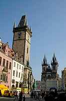 Prague, city center, city hall, Teyn Church, Czech Republic, Prague