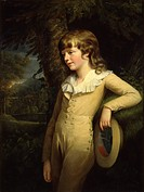 Portrait of a child, by British artist, 18th century, oil on canvas. Italy, Lombardy, Milan, Brera Collection. Whole artwork view. Young man with a ha...