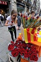 Flowers stall, St George´s Day Catalan holiday, Barcelona. Catalonia. Spain