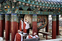 Drum ceremony performed by monks before the evening prayer at the buddhist temple of Haeinsa. South Korea, South Gyeongsang Province (Gyeongsangnam-do...