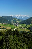 View of the Alps, view of a village in a valley, Austria, Tyrol, Wildschoenau