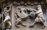 Spain, Catalonia, Barcelona, Cathedral, Relief in Sant Iu Portal. Knight fighting Griffin