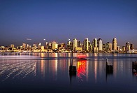 San Diego Downtown Skyline and Harbor viewed at night. San Diego, California, United States.