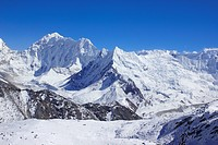 view from Kongma La to Baruntse and Chhukhung glacier, Nepal, Himalaya, Khumbu Himal