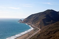 View from clifftop of Pacific Ocean in Point Mugu State Park, Malibu, California, USA.