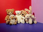 Various stuffed toys on floor in colorful room