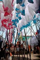 Mumbai India: drying laundry at Mahalaxmi Dhobi Ghat