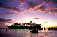 ocean cruiser with lightened windows in sunset, Crown Princess