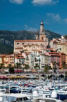 St. Michel church and the old town of Menton, Provence-Alpes-Cote d'Azur, French Riviera, France, Mediterranean, Europe