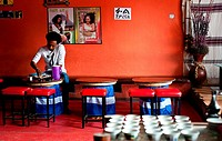 Man eating in a restaurant. Addis Ababa, Ethiopia.