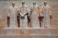 John Calvin, William Farel, Theodore, Debeze, and John Knox on the Reformation Wall, Geneva, Switzerland.