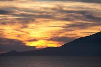 Mt. Rishi at dusk, Toyotomi Town, Hokkaido Prefecture, Japan
