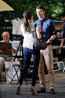Mila Kunis, Justin Timberlake on the set of 'Friends With Benefits' in Central Park out and about for CELEBRITY CANDIDS - TUESDAY, , New York, NY July...