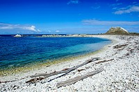 Limestone rocky beach on the clear waters of Kaikoura Peninsula, South Island, New Zealand, Pacific