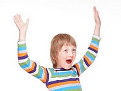 Boy Cheering with his Arms up - Isolated on White.