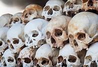 Skulls Displayed inside the Killing Fields ( Choeung Ek ) Memorial Site in Phnom Penh, Cambodia.
